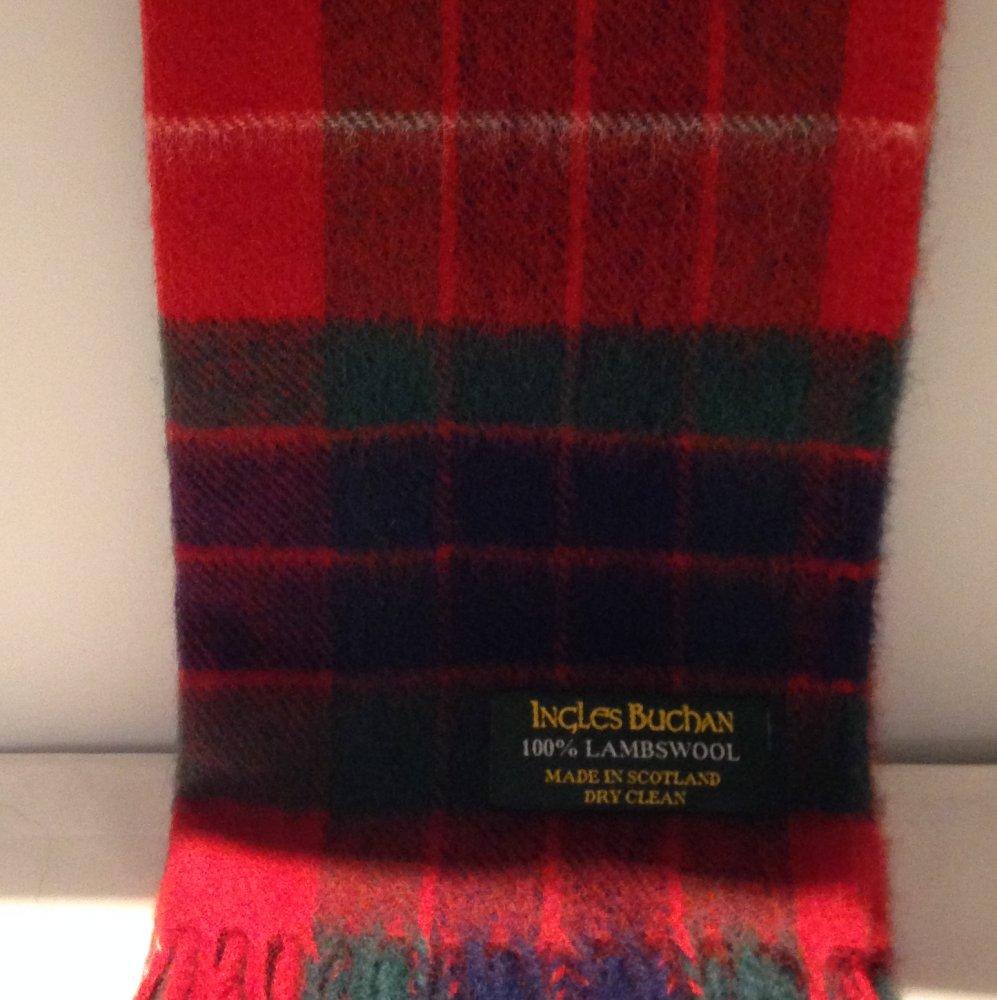 Fraser Red Tartan Scarf Modern Lambswool